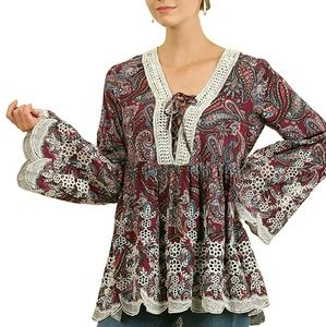 UMGEE bohemian embroider Boho long bell sleeve top